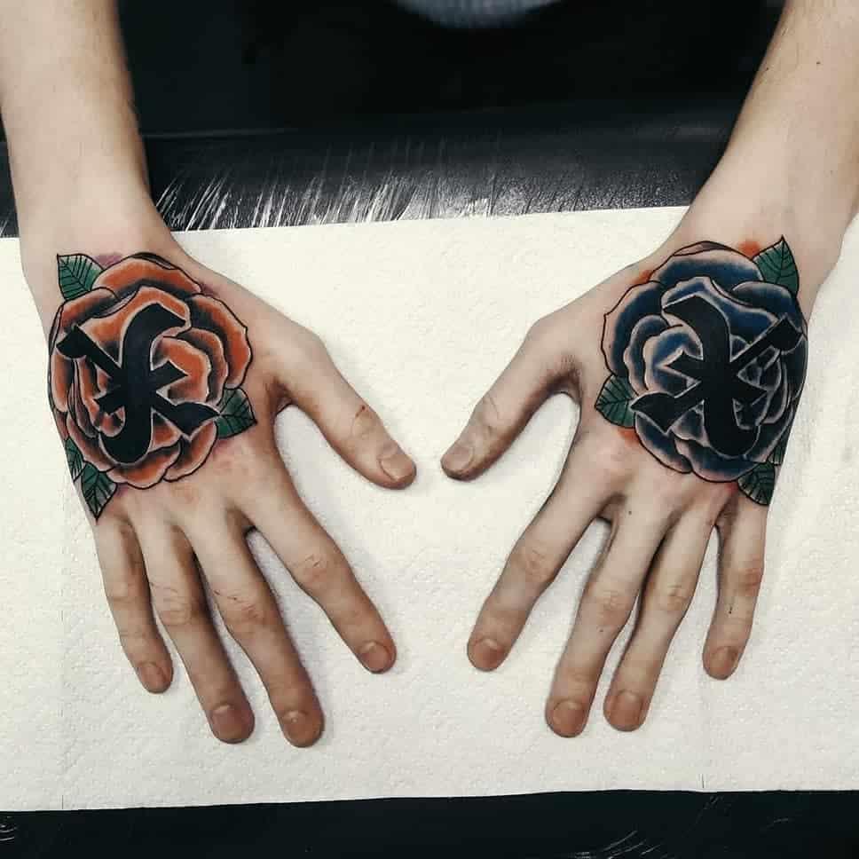 Straight Edge Hand Tattoo Blue Fucking Emo