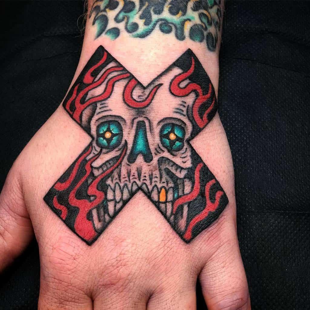 Straight Edge Hand Tattoo Paulnycz
