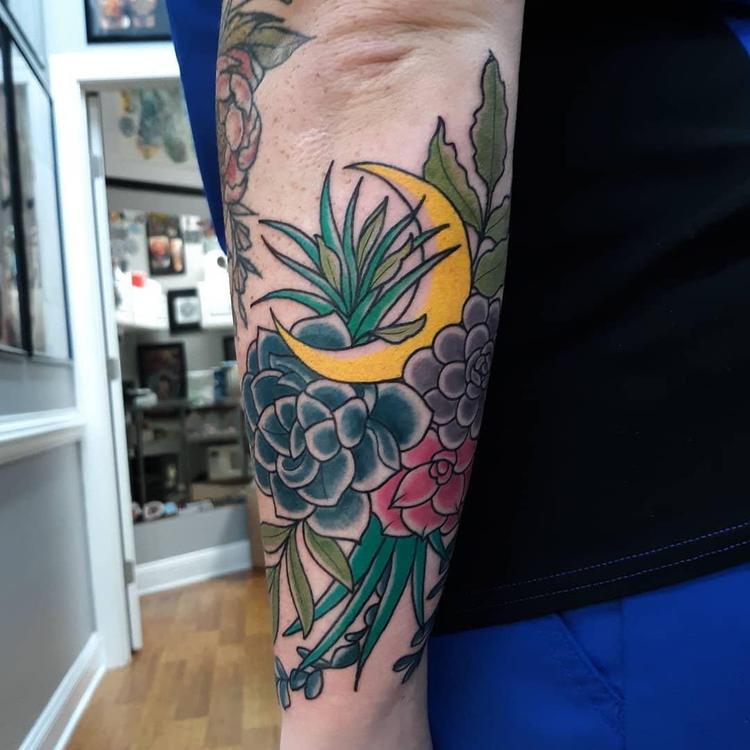 Forearm Succulent Tattoo -ksmithtattoo