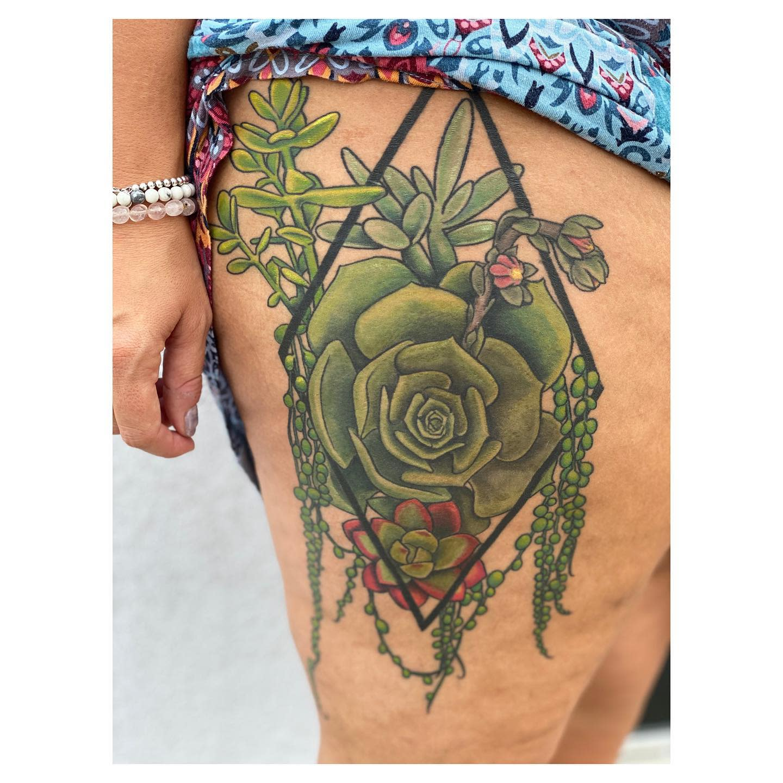 Geometric Succulent Tattoo -kaitlinbrocktattoos