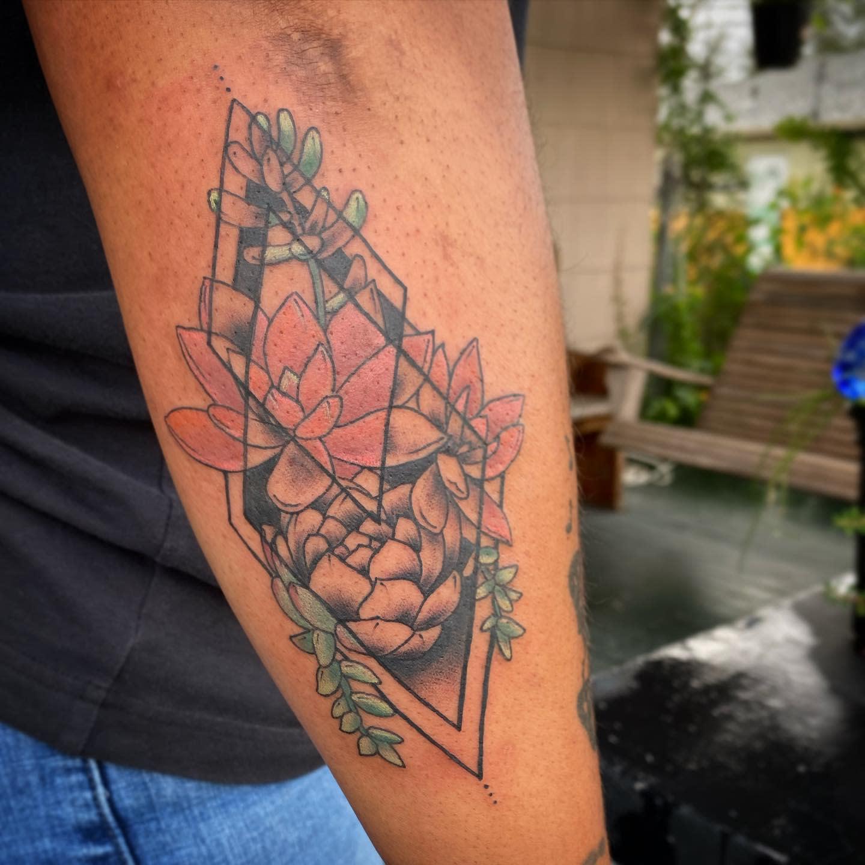 Geometric Succulent Tattoo -snowartlikemine