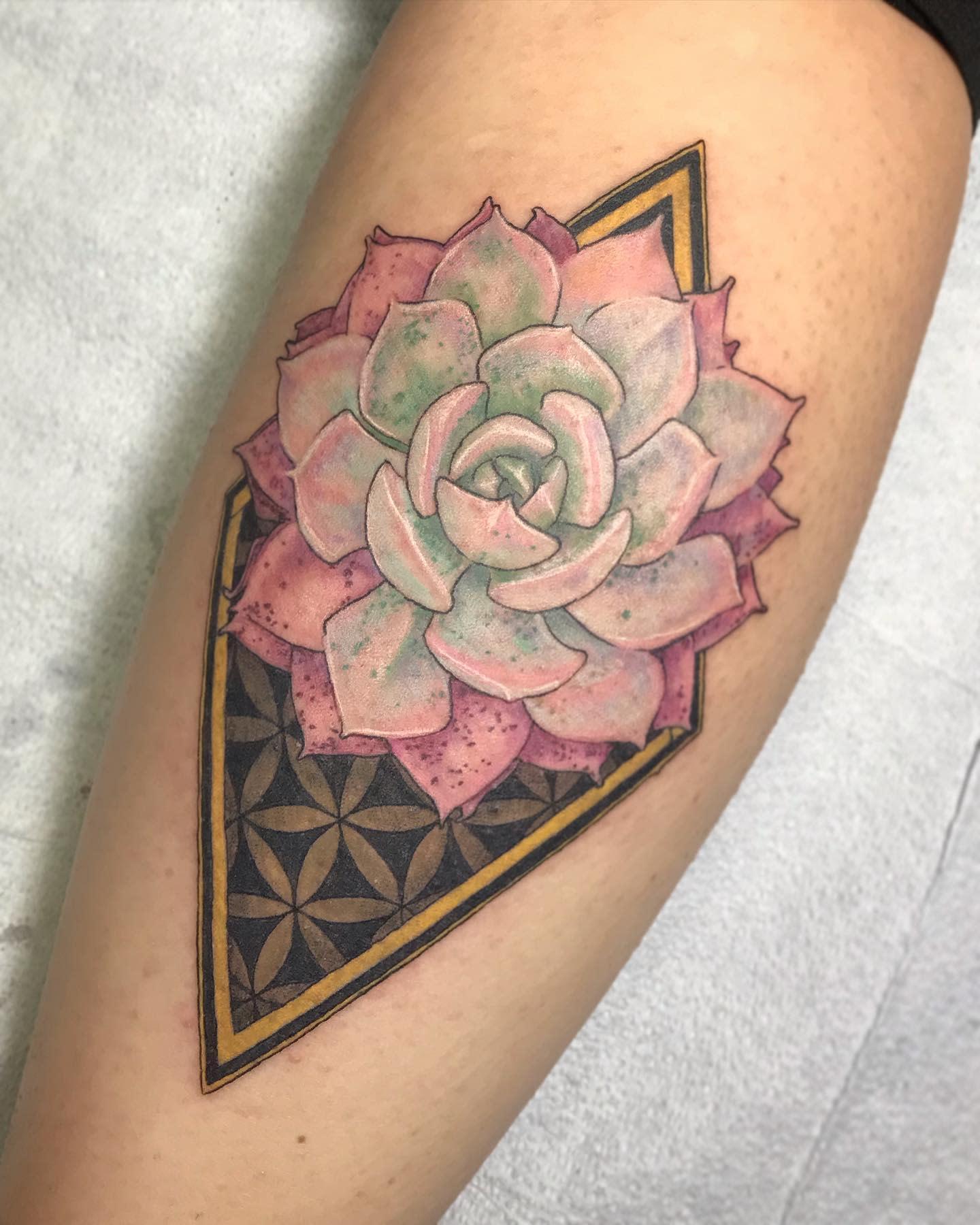 Geometric Succulent Tattoo -studioarcanum