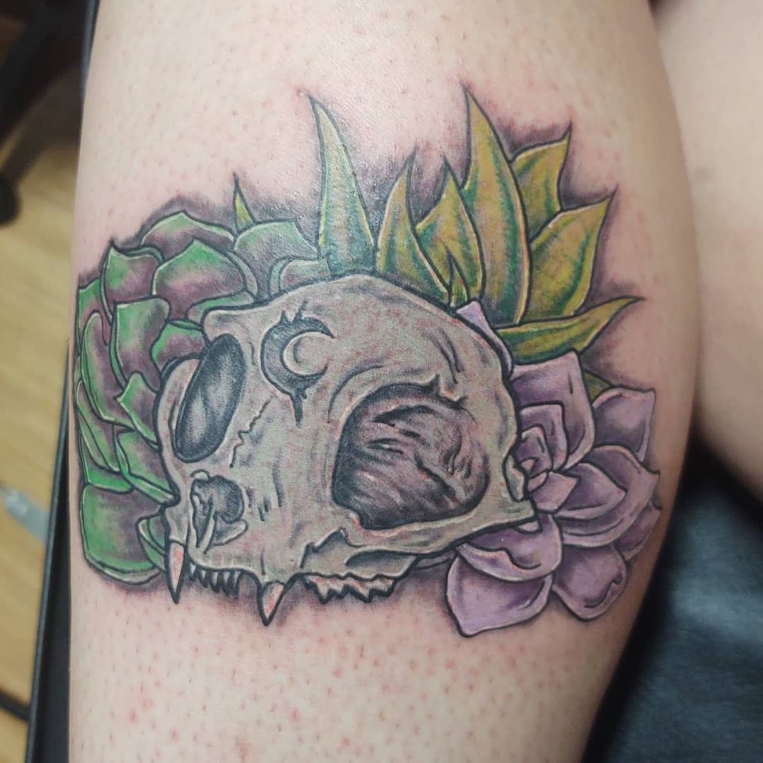 Skull Succulent Tattoo -dark_angel_tattoo_gallery
