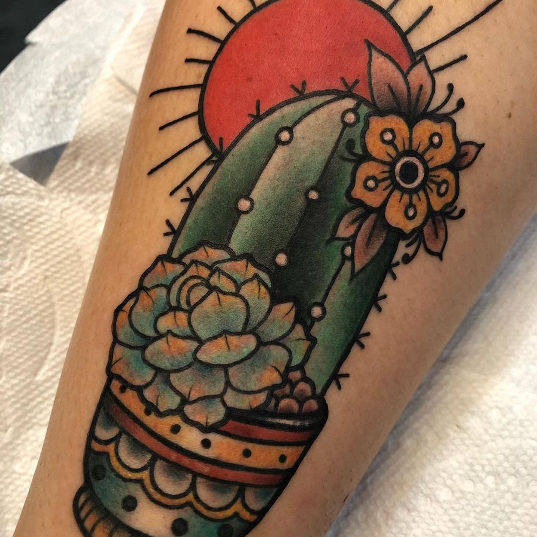 Traditional Succulent Tattoo -tattoosbymissiblue