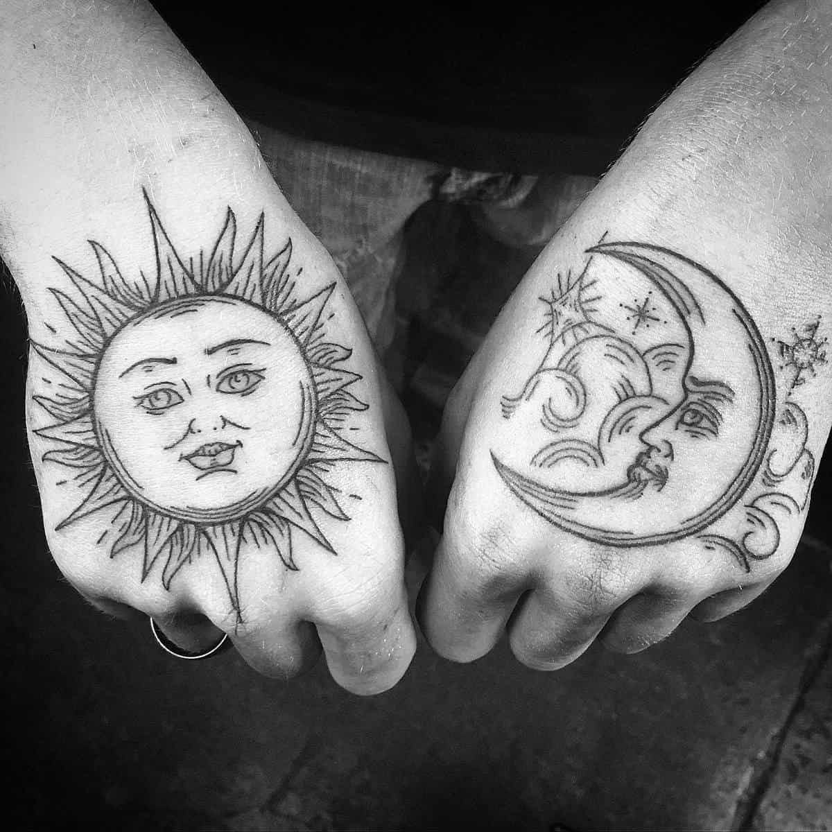 Sun and Moon Matching Tattoos maiden_and_crow_tattoo