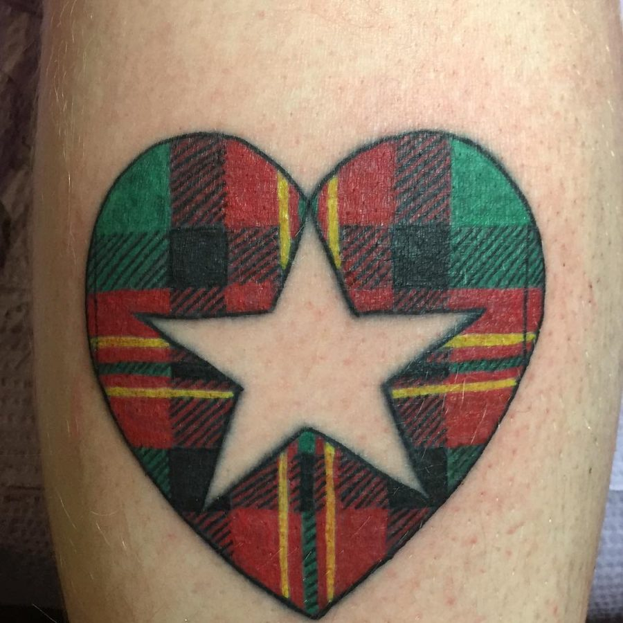 Tartan Heart Neg Space Star Tattoo