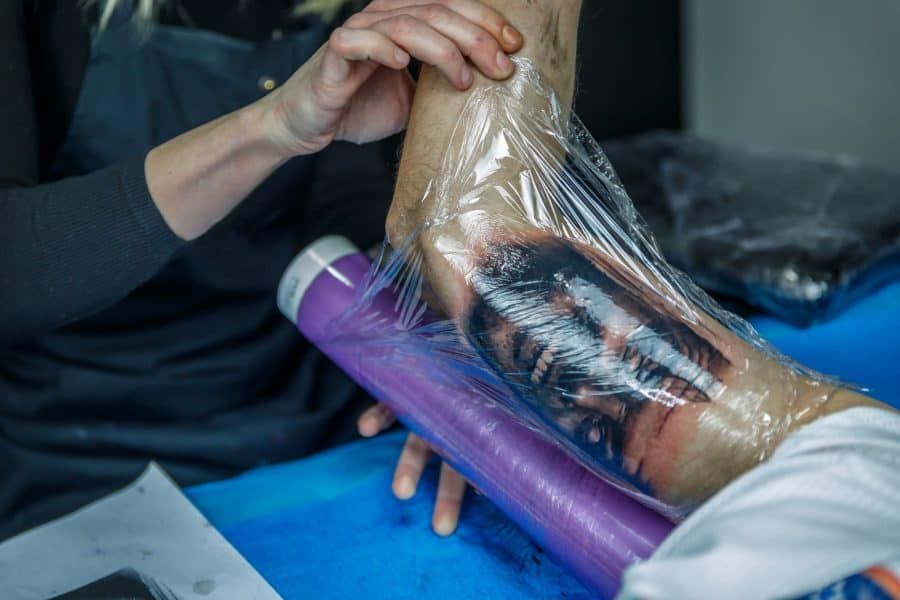 Tattoo Being Wrapped With Cling Film
