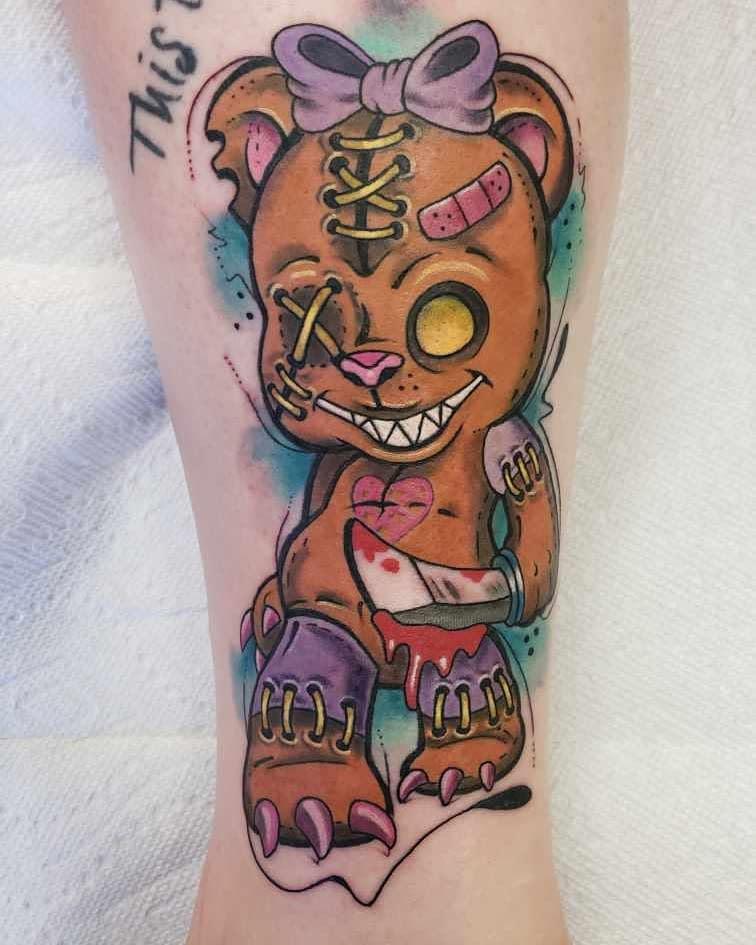 Evil Teddy Bear Tattoo -tattoosbybambi