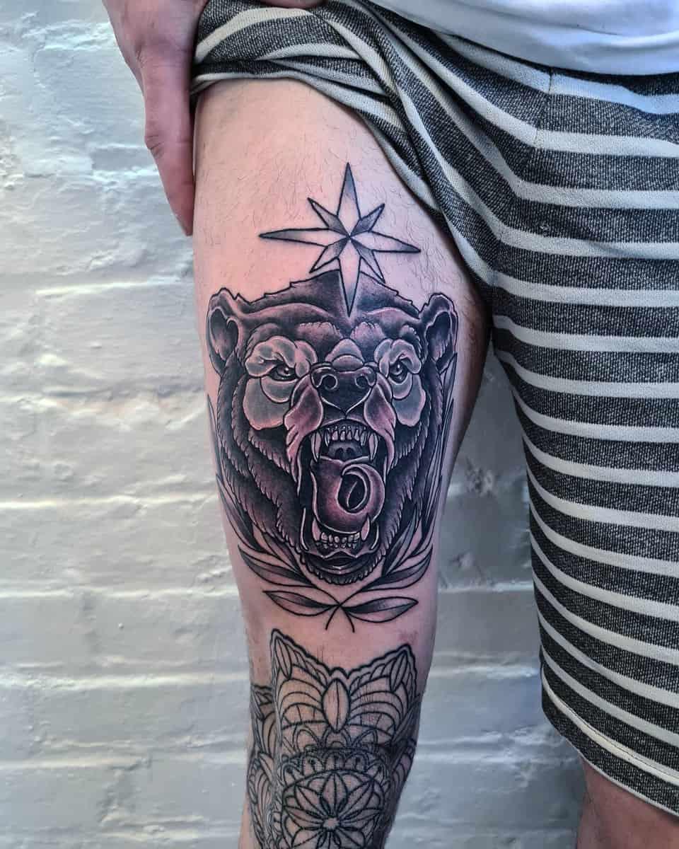 Thigh Black Bear Tattoo stestansfieldtattoo