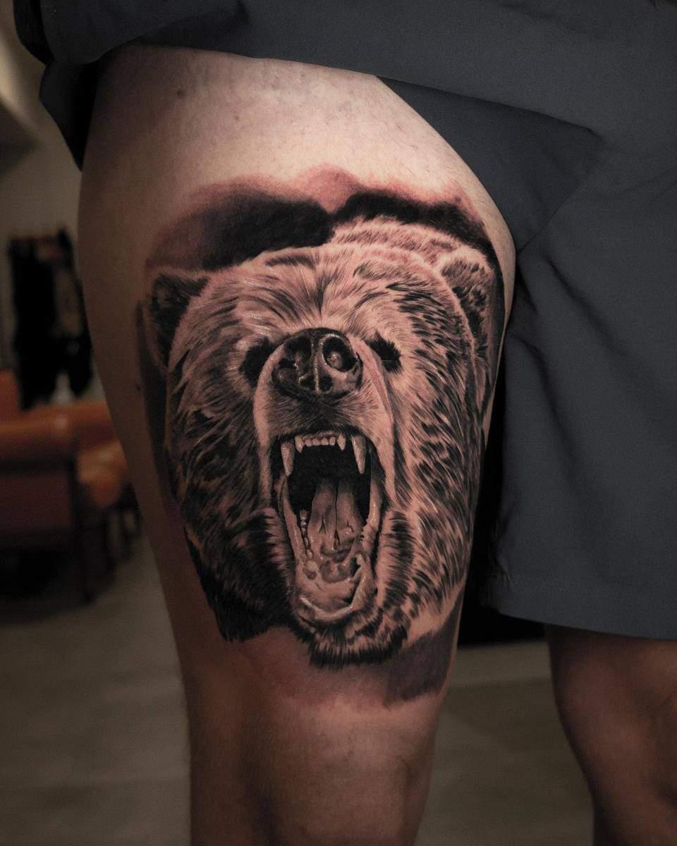 Thigh Black Bear Tattoo zee_inklover
