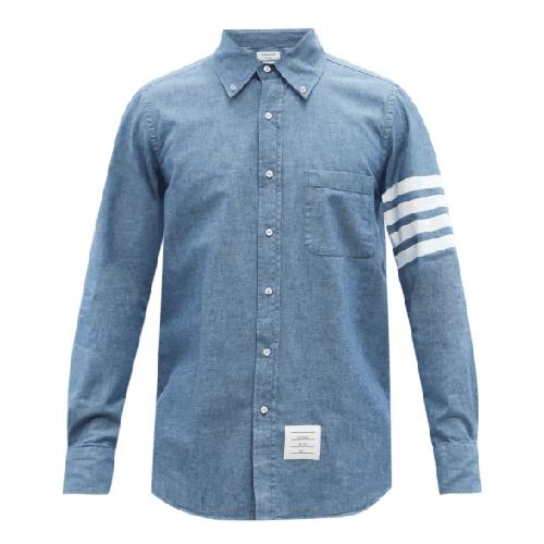 Thom Browne 4-Bar Cotton Chambray Shirt