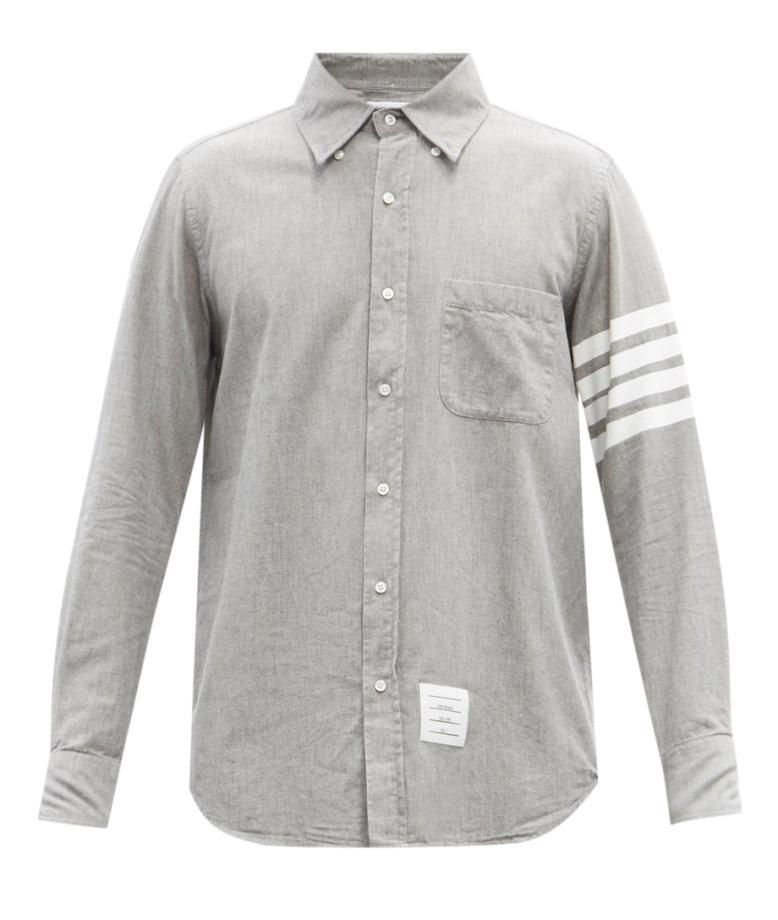 Thom Browne Four-Bar Cotton Chambray Shirt