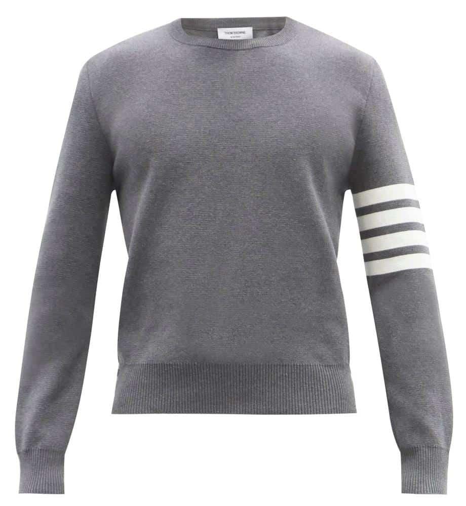 Thom Browne Four-Bar Intarsia Cotton Sweater