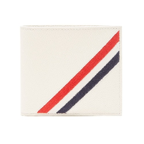 Thom Browne Tricolor-Striped Embroidered Leather Wallet