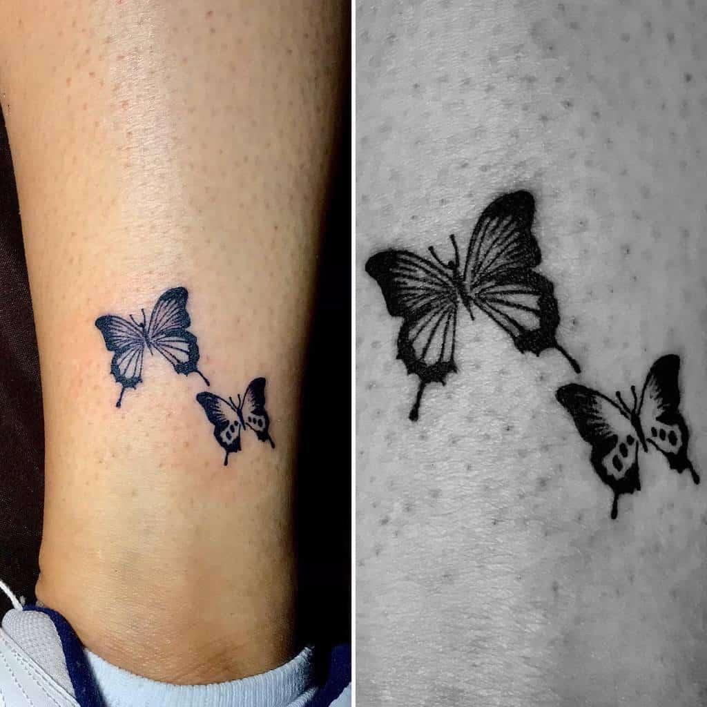 Tiny Black Butterfly Tattoo luisramireztattoos