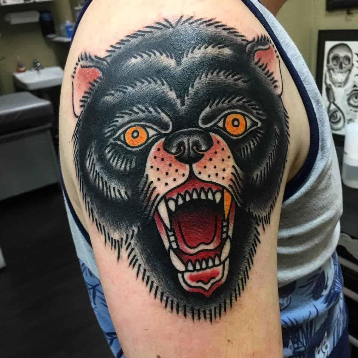 Traditional Black Bear Tattoo laserducktattoo