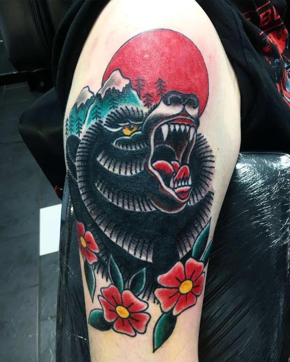 Traditional Black Bear Tattoo shaynetattoos