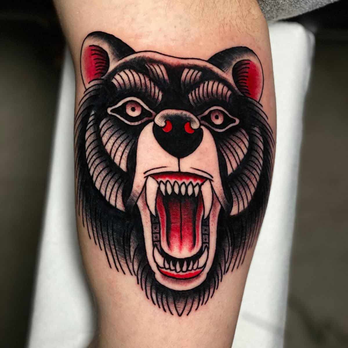 Traditional Black Bear Tattoo stevensbodyart