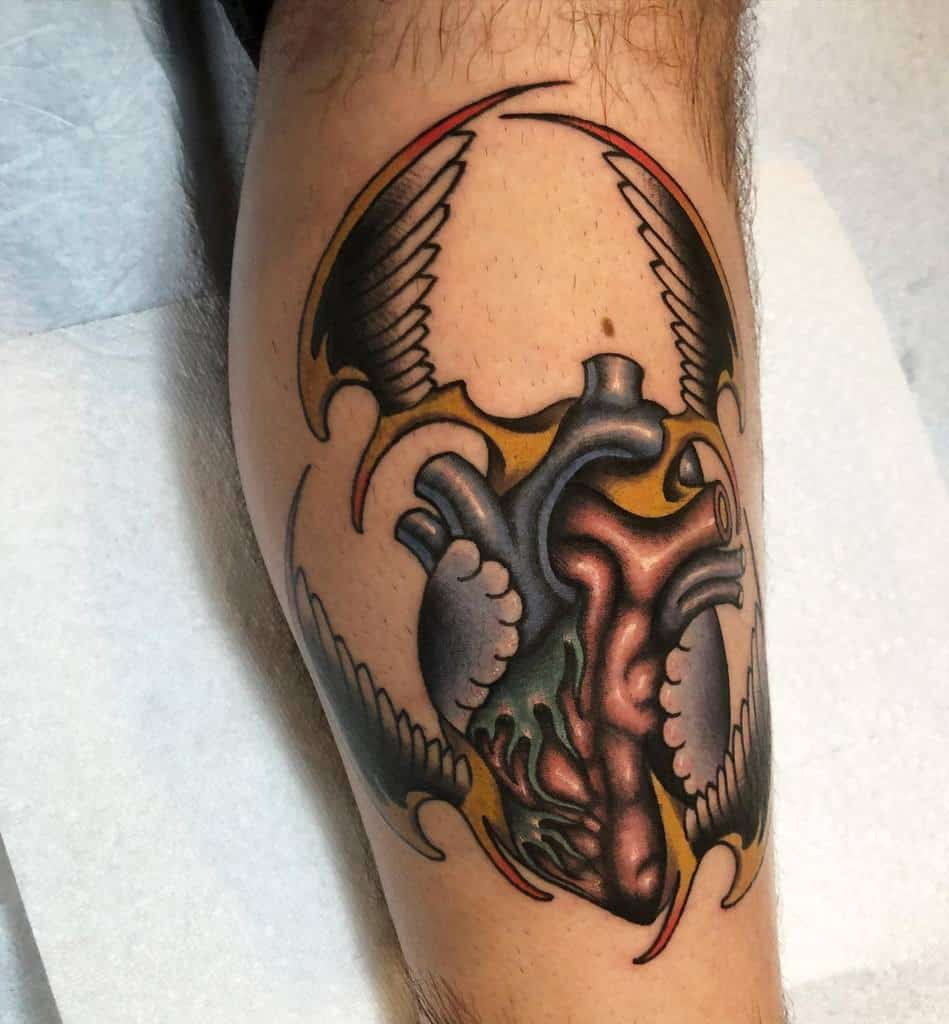 Traditional Heart With Wings Tattoo epochtattoo