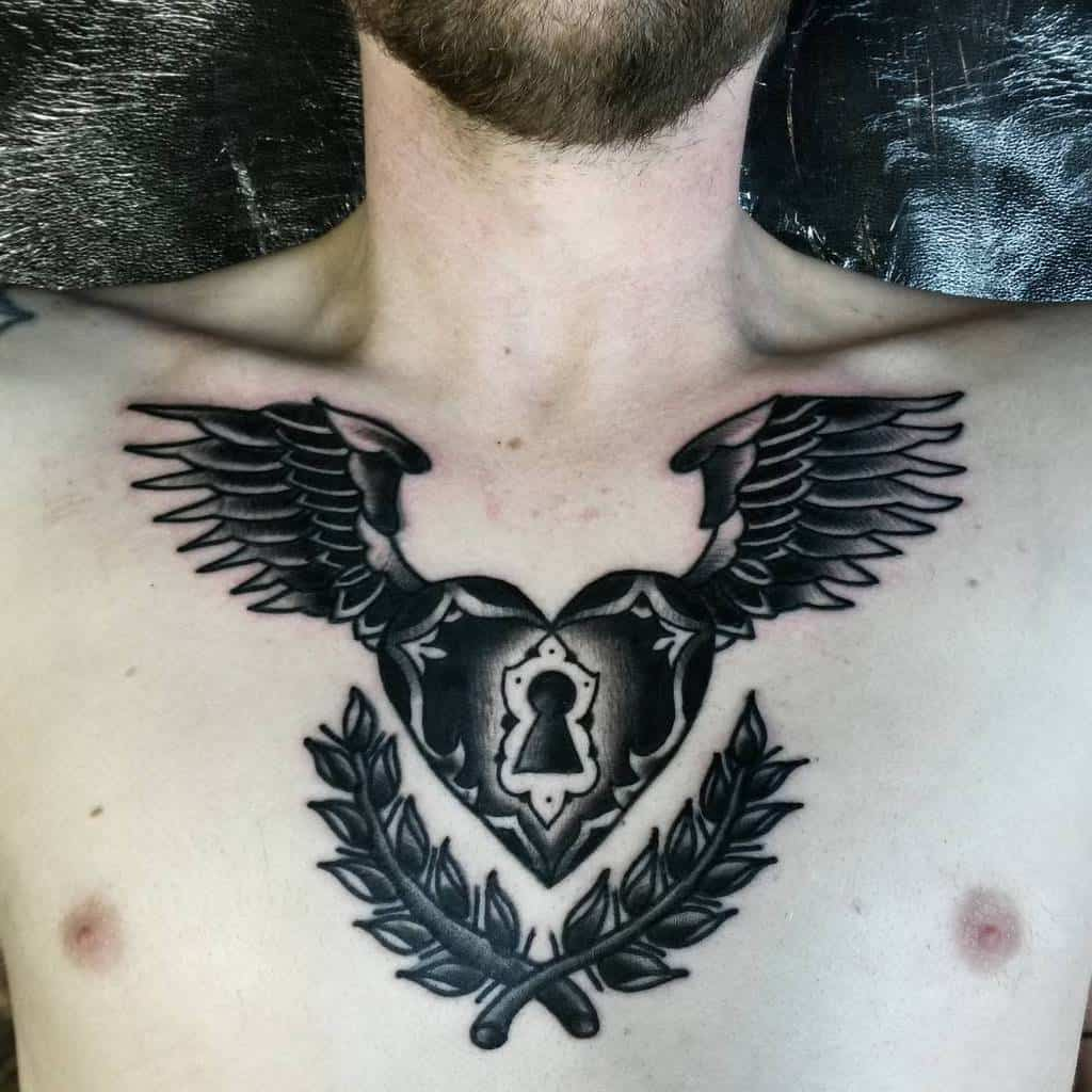Traditional Heart With Wings Tattoo kennyteatattoo