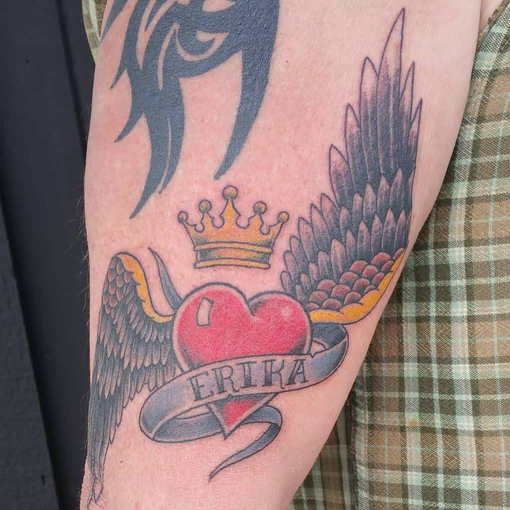 Traditional Heart With Wings Tattoo skinny_ben