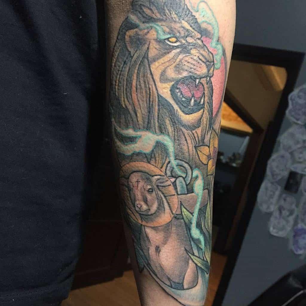 Traditional Lion and Lamb Tattoo jhonnymand