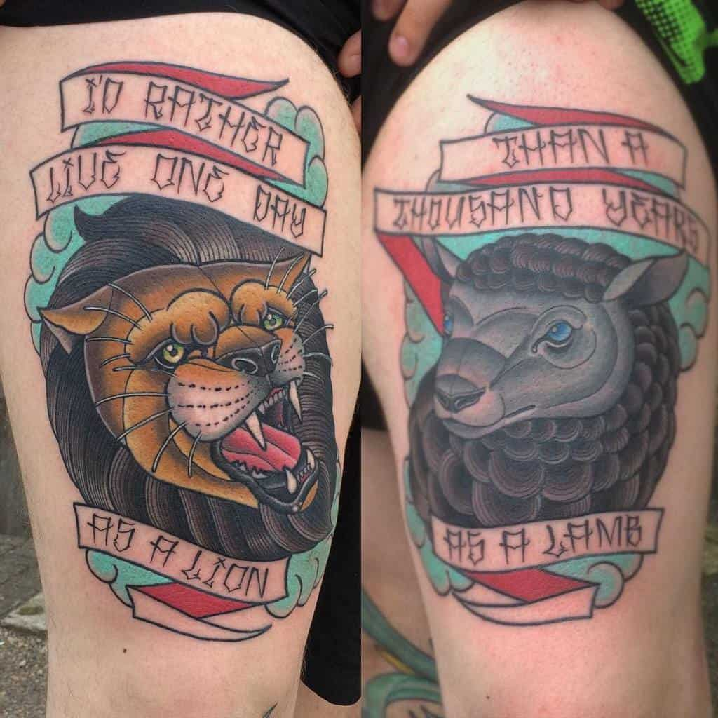 Traditional Lion and Lamb Tattoo owlschoolerik