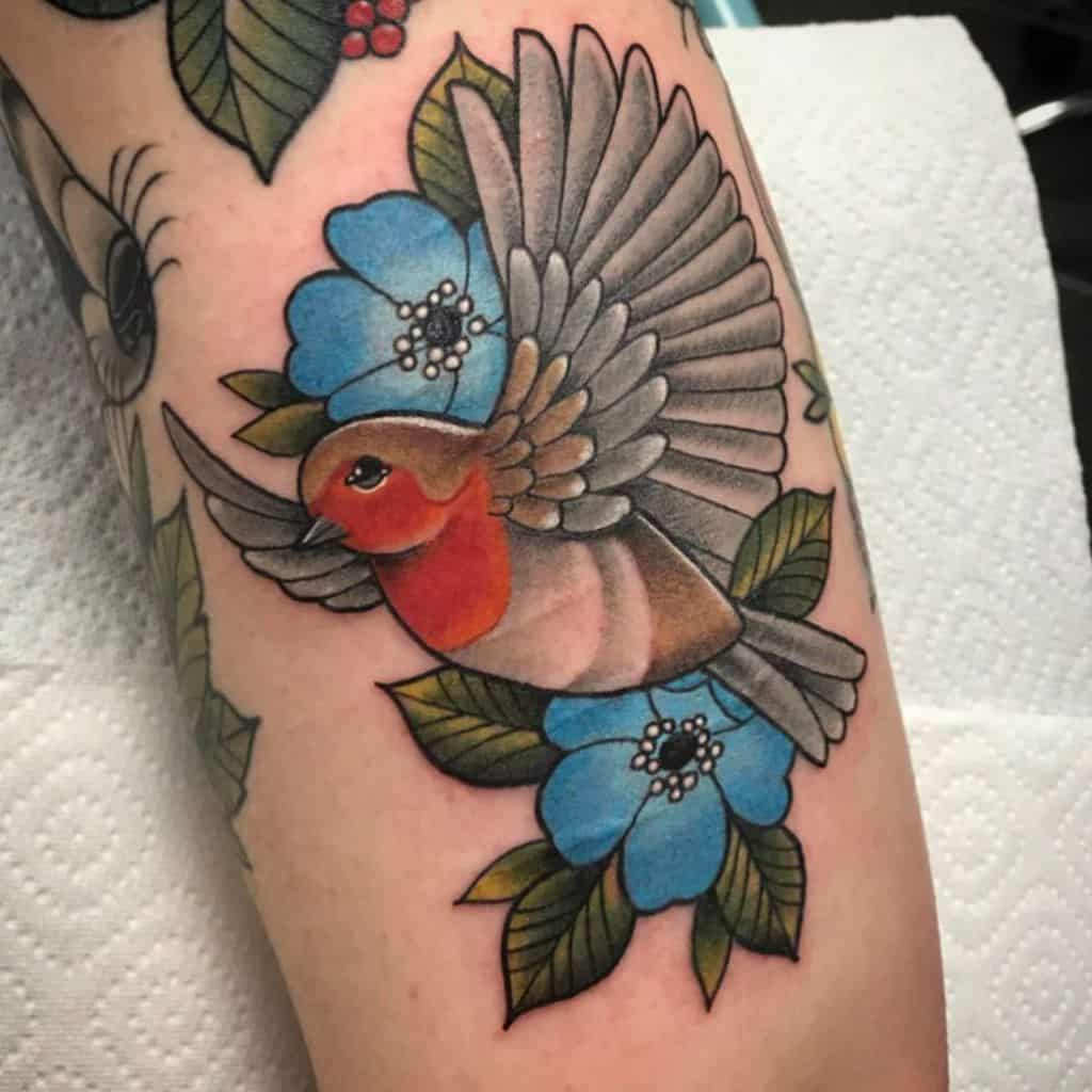 Traditional Neo Traditional Robin Tattoo meredithtattoo