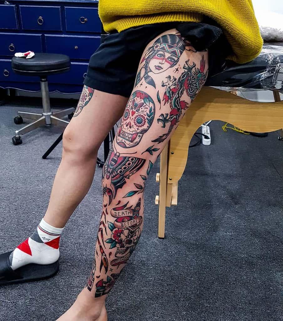 Traditional Tattoo Sleeve Filler hudini_tattooer