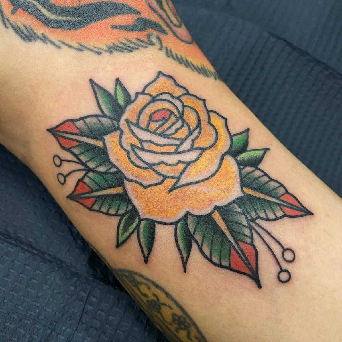 Traditional Yellow Rose Tattoo -erinodea