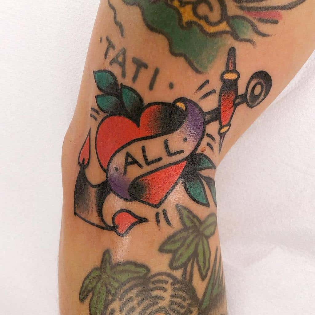 Traditional And Neo Traditional Heart Tattoo Tatsbymerv