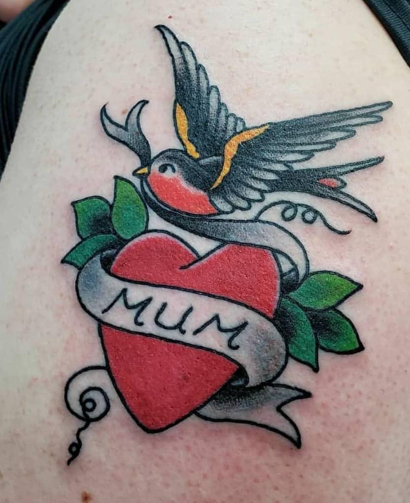 Traditional And Neo Traditional Heart Tattoo Tattoomorgan
