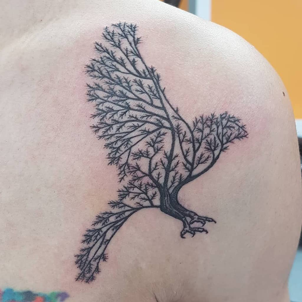 Tree Branch with Bird Tattoo ele1199