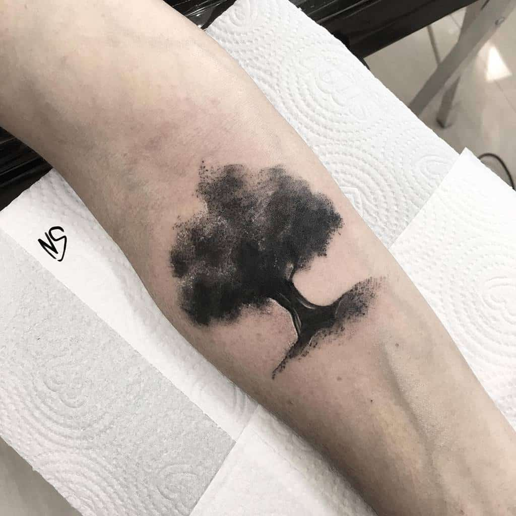 Tree Silhouette Forearm Tattoo nandosato art