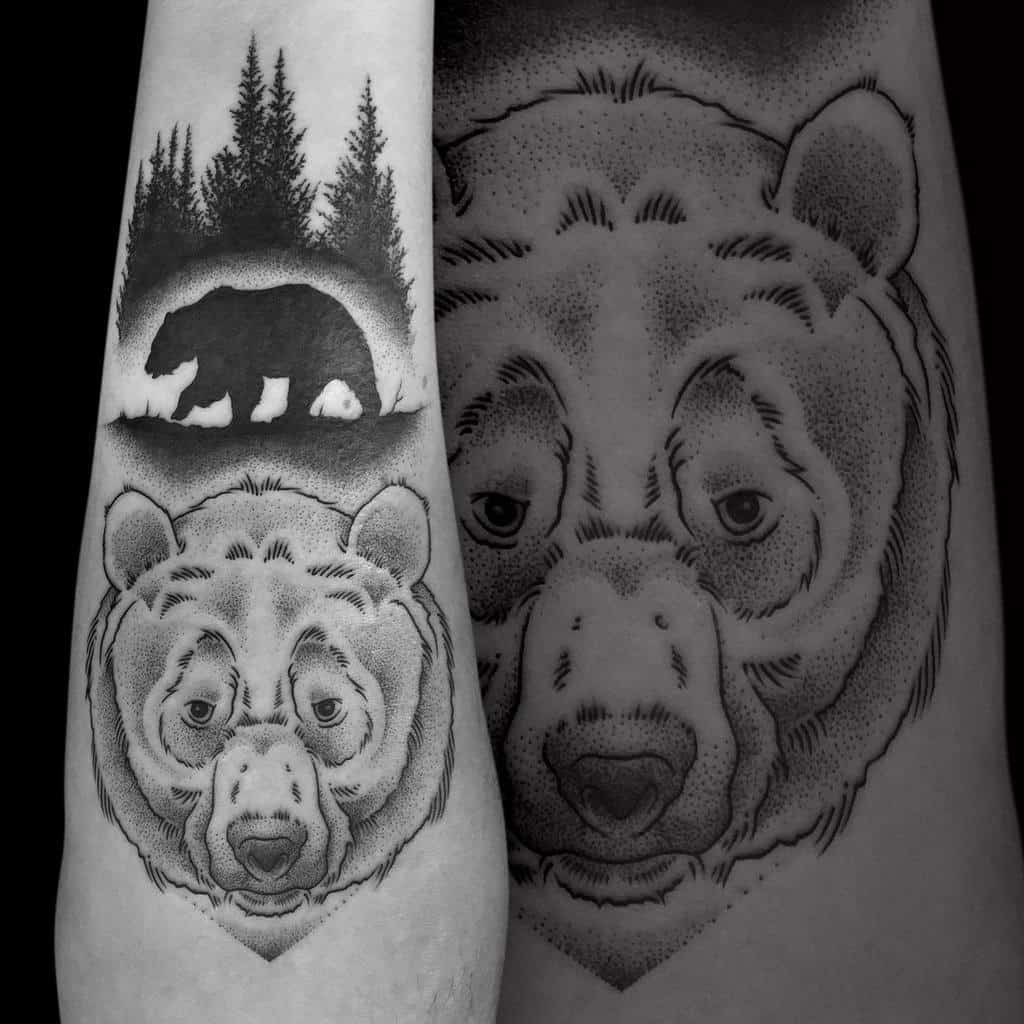 Tree Silhouette With Bear Tattoo tribo_tattoo