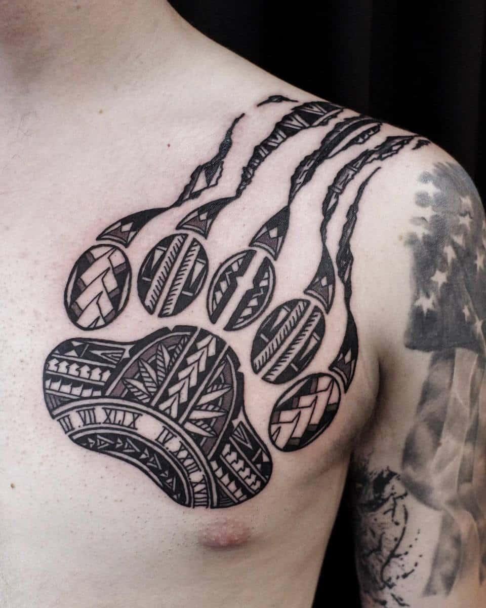 Tribal Bear Paw Tattoo horishitjun