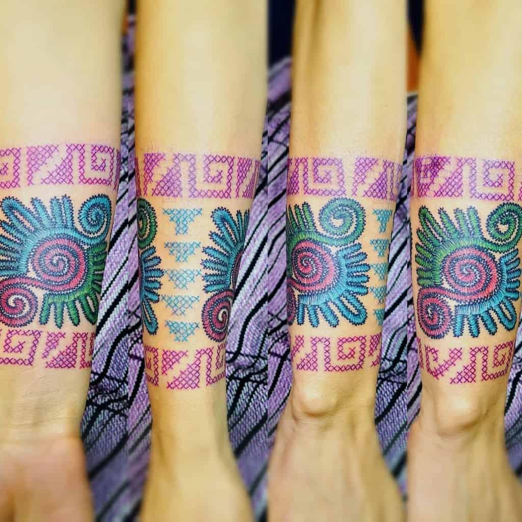 Tribal Cross Stitch Tattoo Alberto Rojo Tecolotl