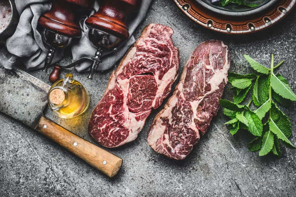 Two Raw Dry Aged Premium Steaks