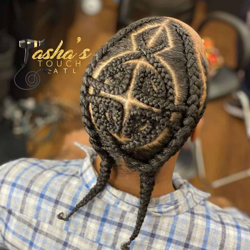 Two Long Men's Braids Paired With Cornrows On The Top, Starting From The Front To The Nape Of The Neck