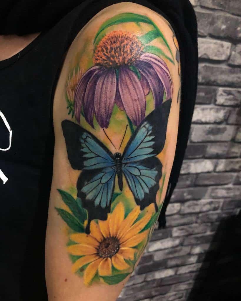 Upperarm Blue Butterfly Tattoos bella_dangerr