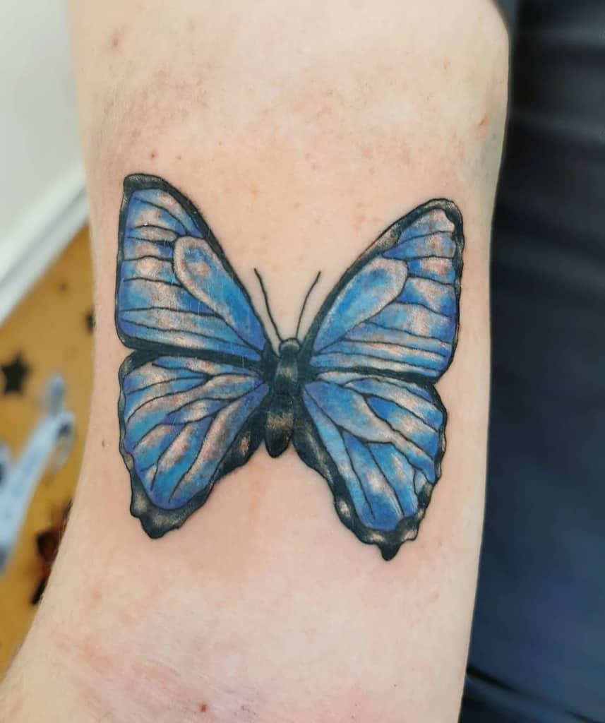 Upperarm Blue Butterfly Tattoos debaydeluxtattoo