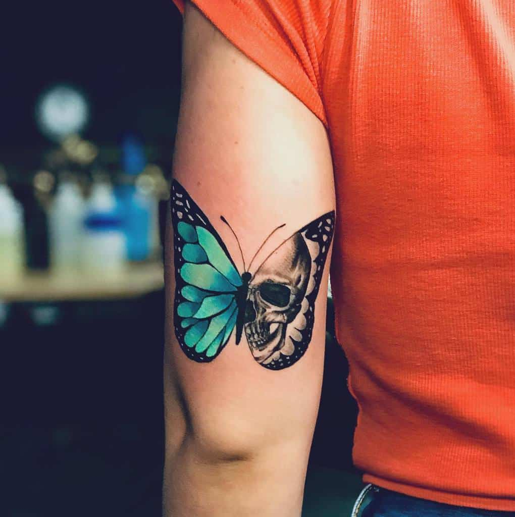 Upperarm Blue Butterfly Tattoos jayhalltattoos