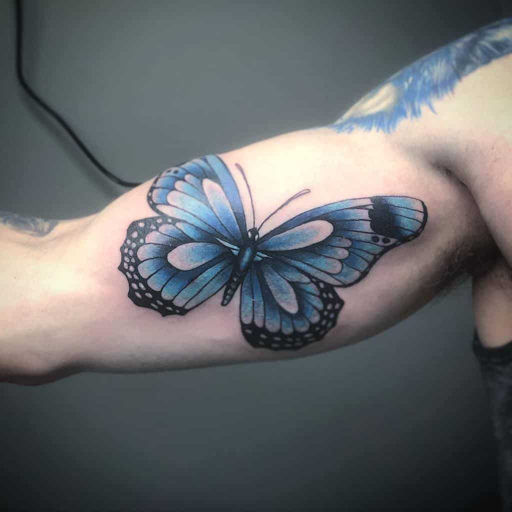 Upperarm Blue Butterfly Tattoos kylejohnson.tattoos