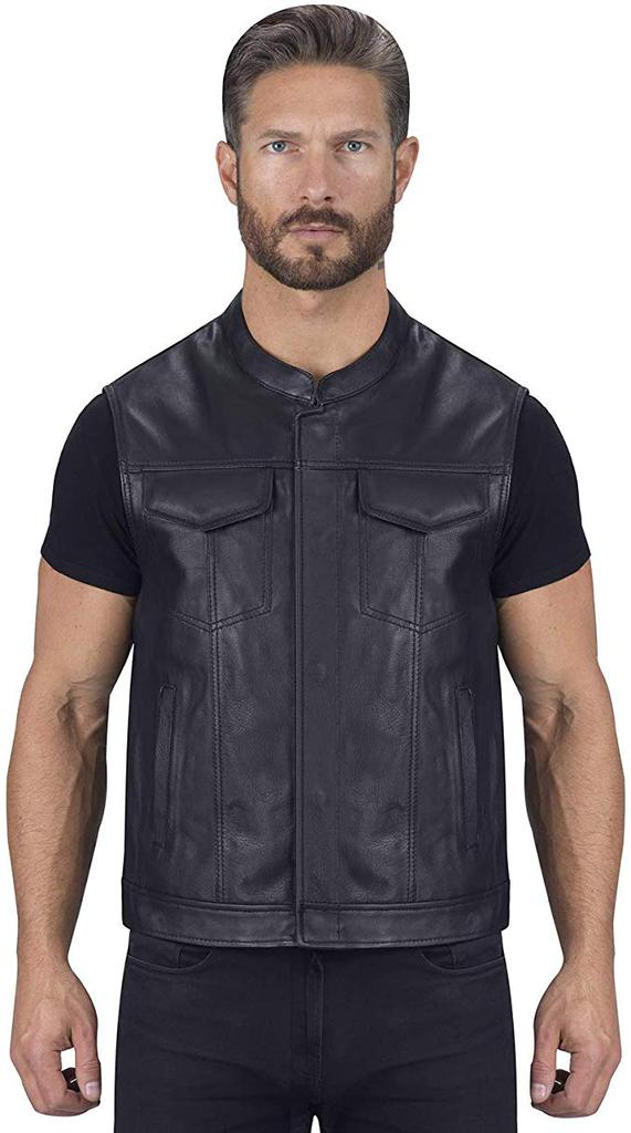 viking cycle gardar genuine buffalo leather motorcycle vest for men – biker club vest with concealed carry hidden pocket