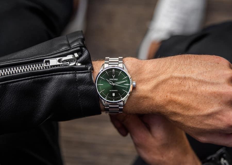 Vincero Icon Automatic Dark Olive Silver Watch 3