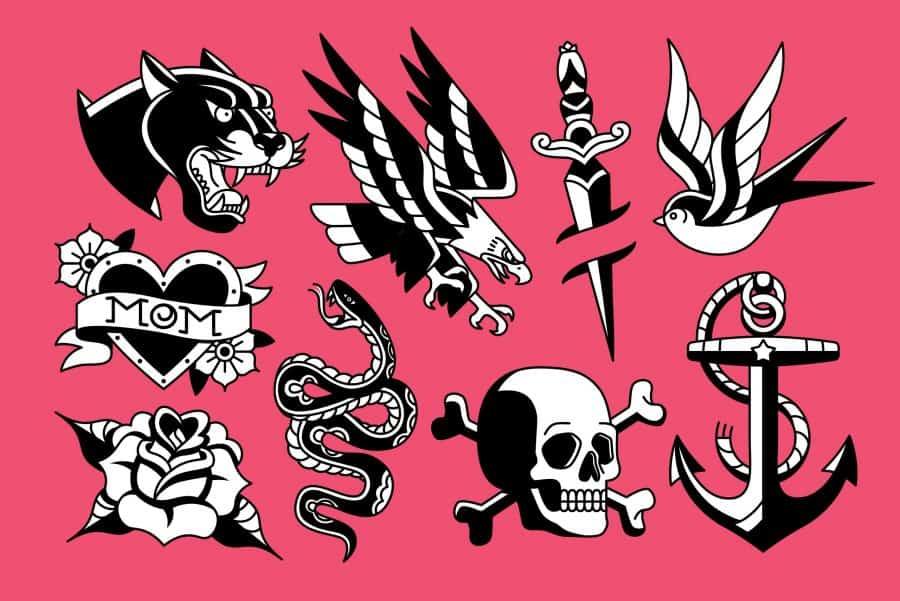 Vintage Tattoo Flash Art Design