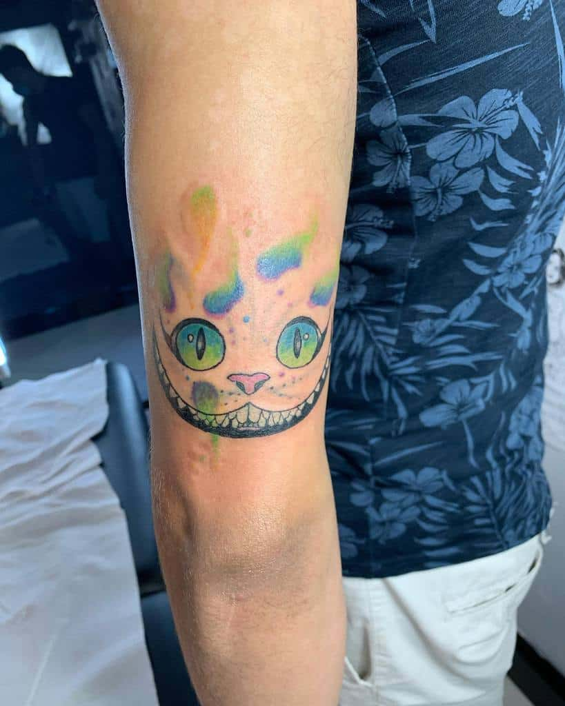 Watercolor Cheshire Cat Tattoo _valentina_zona