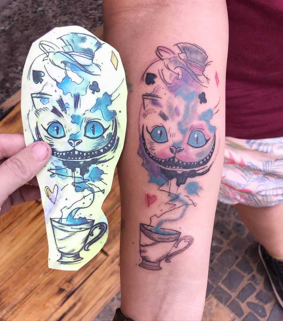Watercolor Cheshire Cat Tattoo dodynhaa_inktattoo
