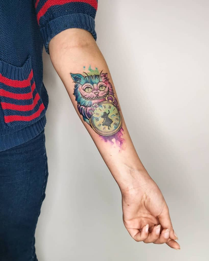 Watercolor Cheshire Cat Tattoo k.morgen.ink