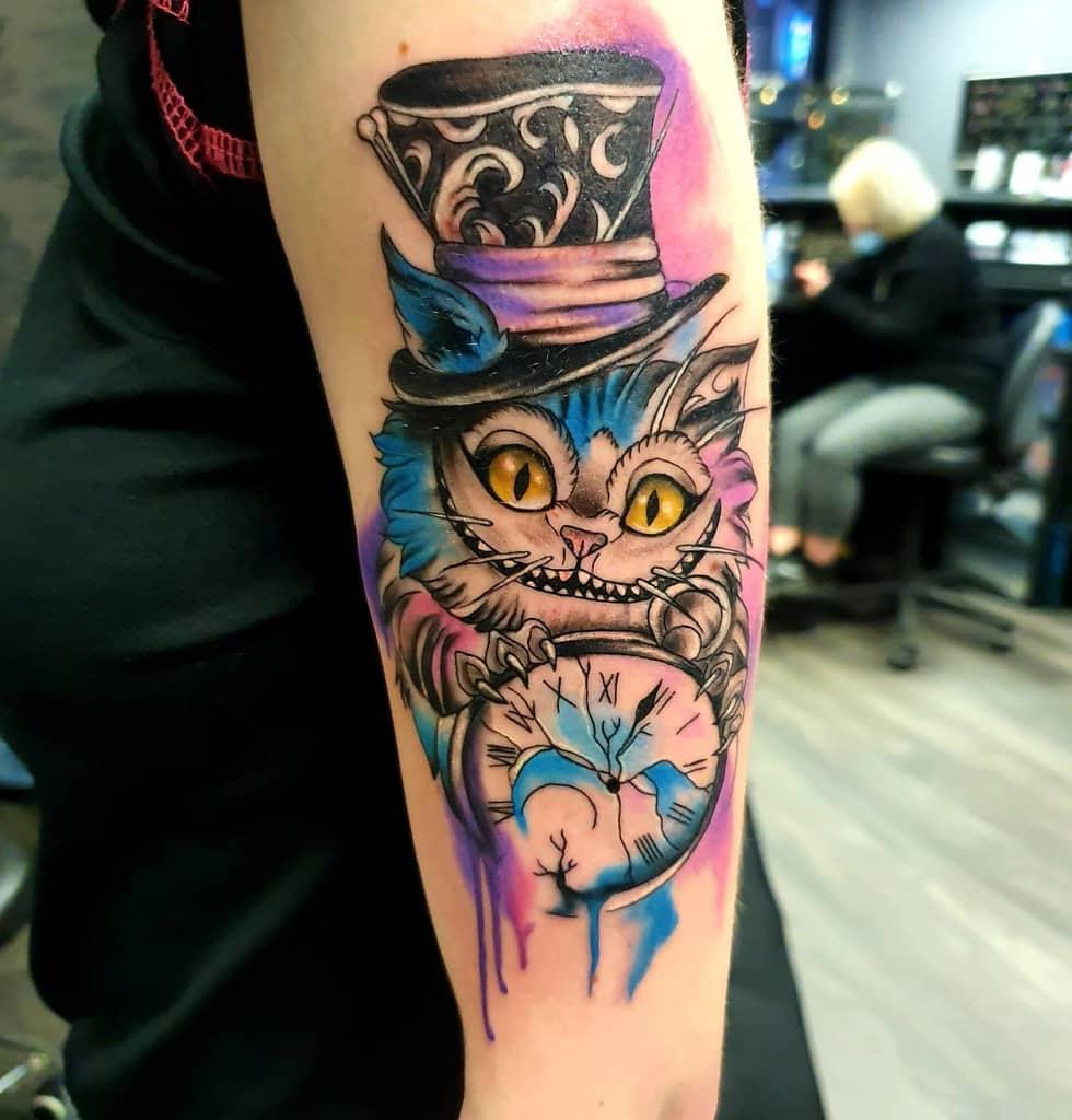 Watercolor Cheshire Cat Tattoo katherine.warner.tattoo